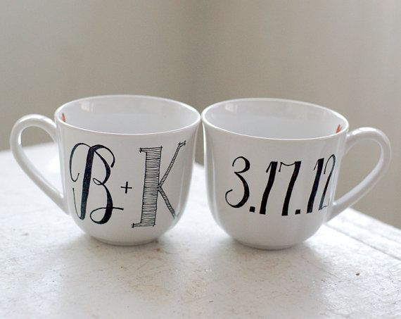Great wedding gift!!: Shower Gifts, Gifts Ideas, Anniversaries Gifts, Mugs Ideas, Coffee Cups, Bridal Shower, Monograms Initials, Coffee Mugs, Wedding Gifts