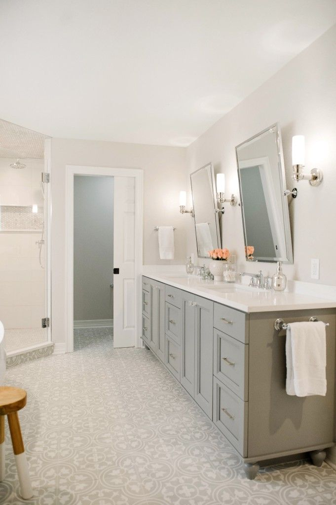 gray and white master bathroom with cement tiles by Everyday Interior Design