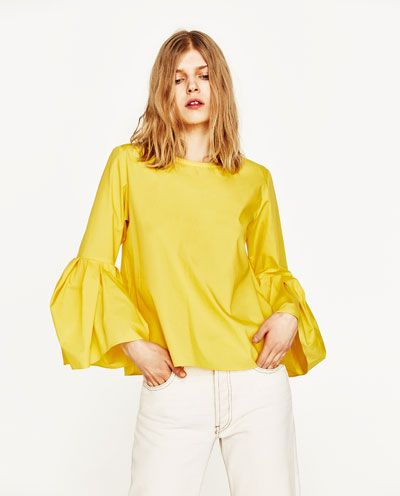 Image 2 of POPLIN TOP WITH PLEATED SLEEVES from Zara
