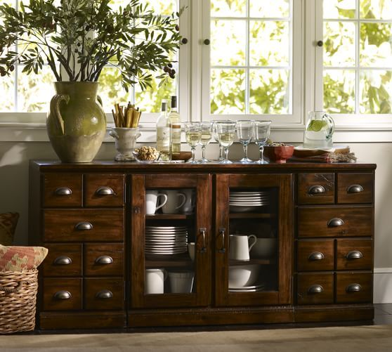 Printer's Large Buffet | Pottery Barn. placement under window?
