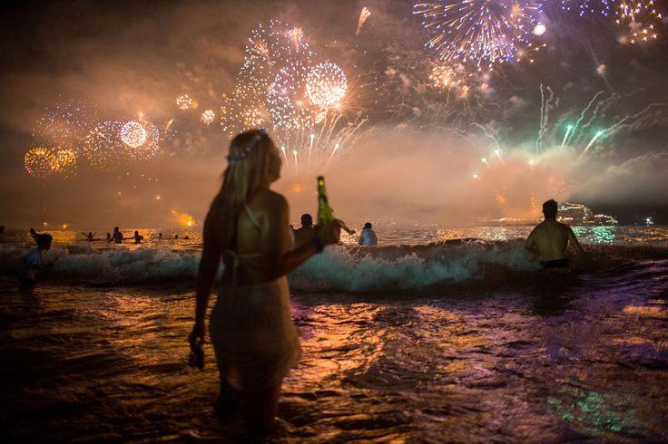 Fireworks light the sky over Copacabana beach during New Year's Eve celebrations in Rio de Janeiro, Brazil, on January 1, 2016. Mauro Pimentel