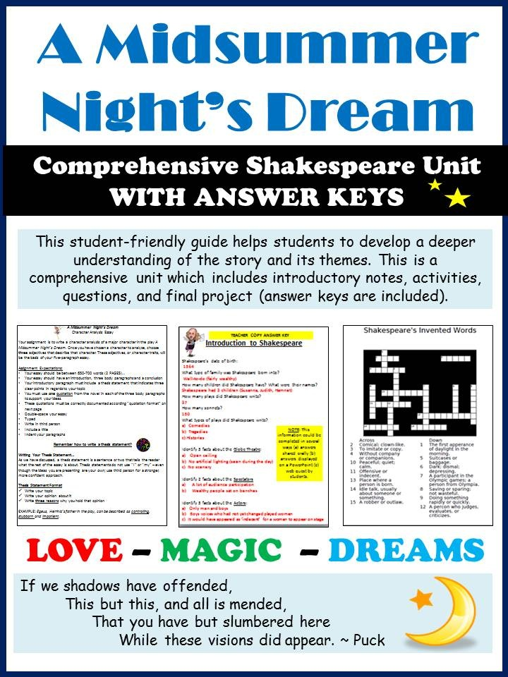 midsummer night s dream guide A midsummer night's dream by william shakespeare student-teacher study  guide compiled and arranged by the education department of.