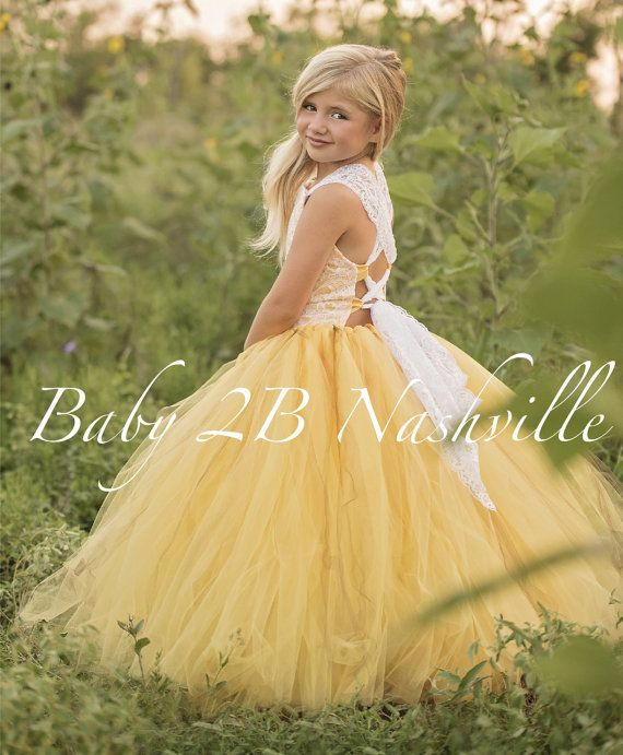 Yellow Flower Girl Dress Shabby Chic Lace Dress Tulle dress Wedding Dress Birthday Dress Toddler Dress Girls Dress by baby2bnashville. Explore more products on http://baby2bnashville.etsy.com