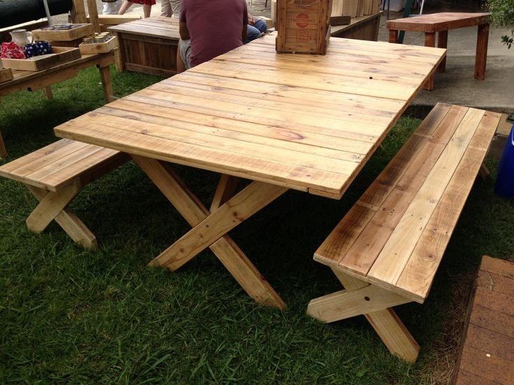 DIY Furniture - My friend made this amazing picnic table  & chairs from recycled pallets.
