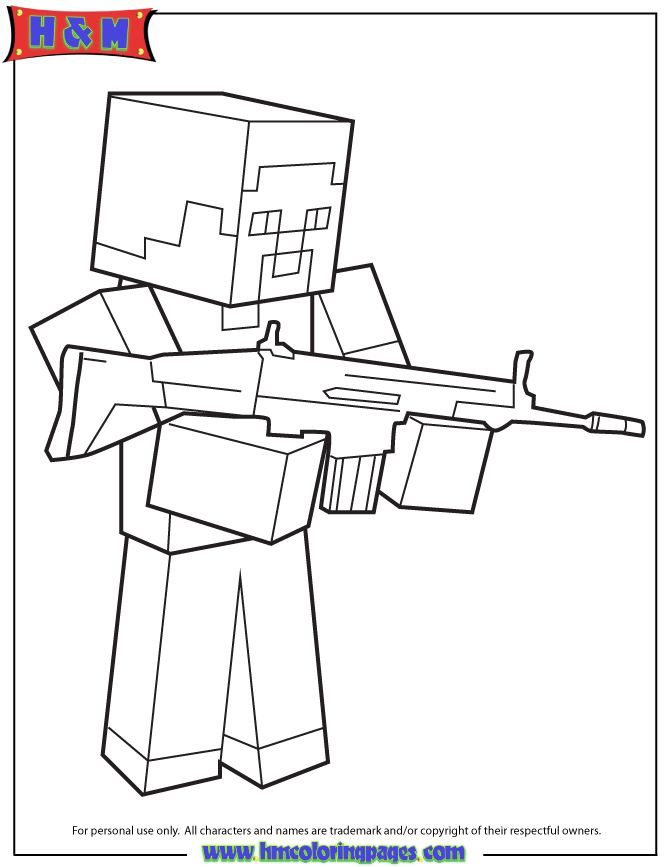 find this pin and more on coloring steve with machine gun coloring page