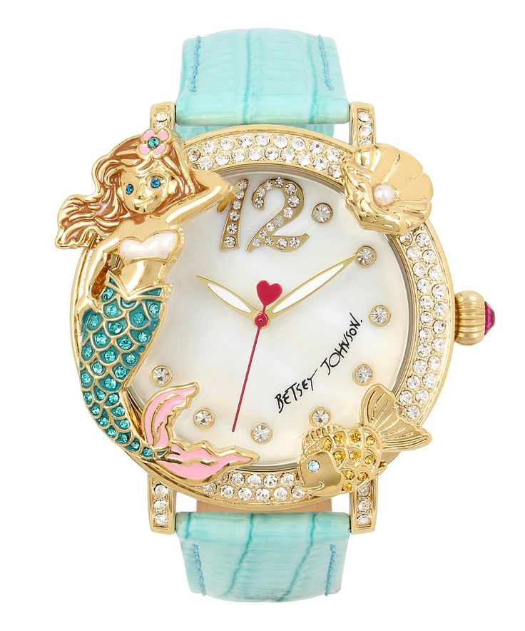 Take a look at this Betsey Johnson Mermaid Love Leather-Strap Watch today!