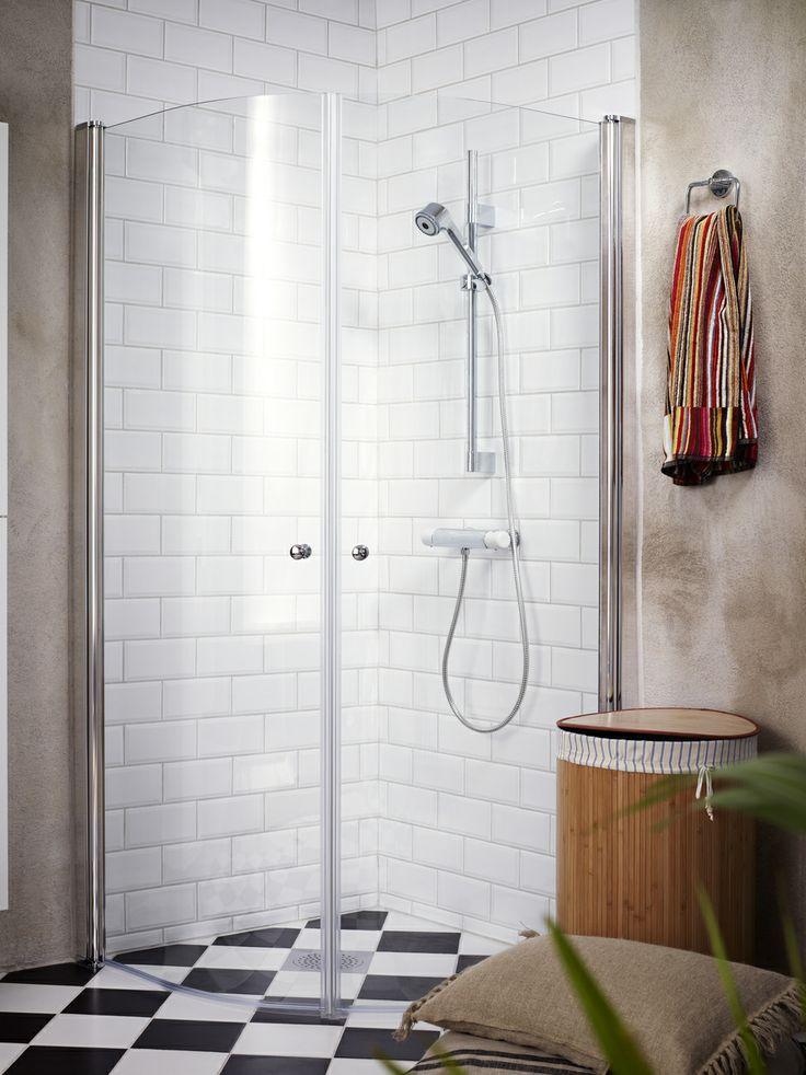 Duschvägg SQ med väggar som kan fällas inåt när duschen inte används - skapar extra golvyta! | GUSTAVSBERG