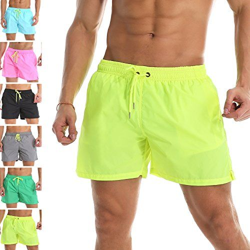 0942b5c5d13d Men's Trunks Quick Dry Shorts Gym Athletic Bodybuilding with Pockets  Swimming Briefs (Yellow,L/US S)