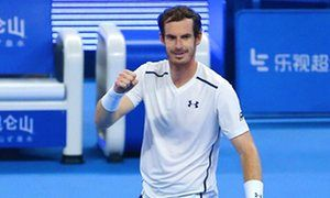 Andy Murray celebrates his victory against Kyle Edmund