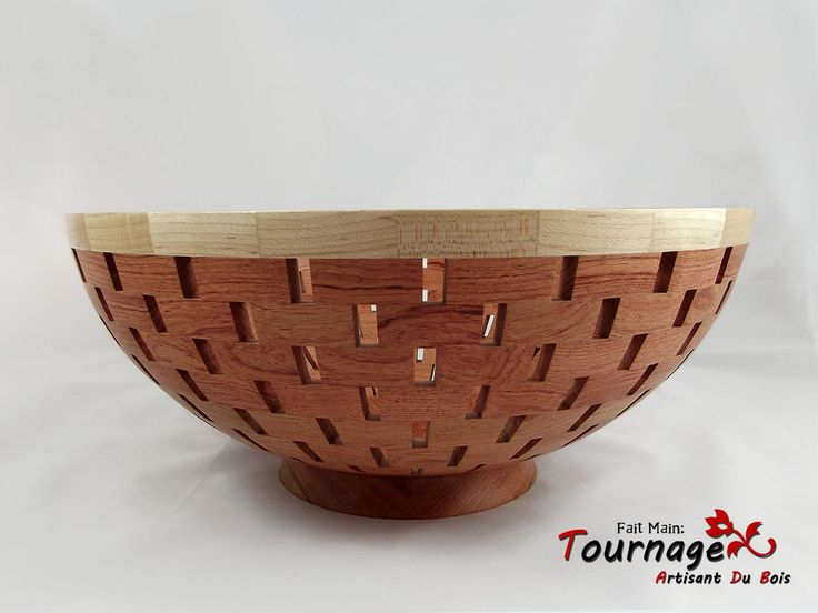 Bol à fruits segmenté fait en bois de Rose et erable : Cuisine et service de table par tournage