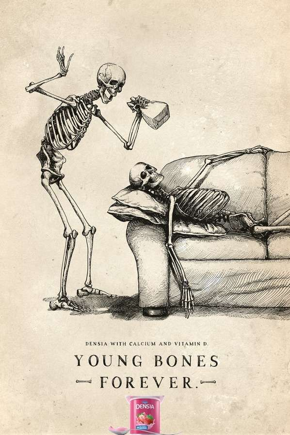 Morbid Mischief Ads - This Campaign for Danone Densia Features Skeletal Wayward Youth (GALLERY)