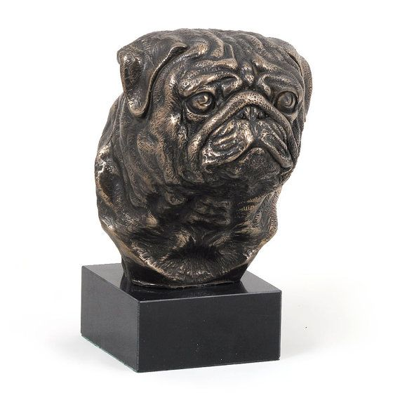 Pug Mops dog marble statue limited edition by ArtDogshopcenter