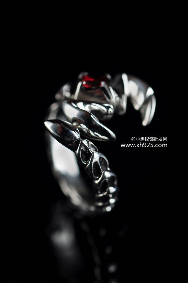 Черный серебро ювелирные изделия 925 чистое серебро ювелирные изделия серебро скорпион мужчины отверстие кольцо скорпион 025321 Вт купить на AliExpress