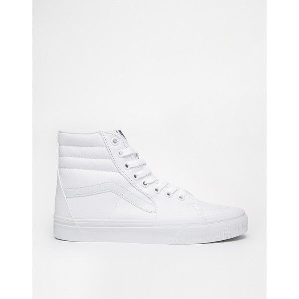 Vans SK8 Hi True White High Top Trainers ($73) ❤ liked on Polyvore featuring shoes, sneakers, lace up sneakers, white trainers, hi tops, vans high tops and high top sneakers
