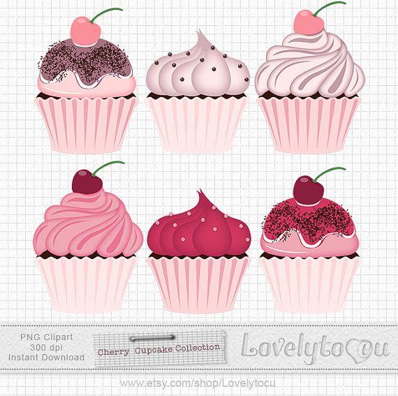 Cherry Cupcake clip art, cherry and chocolate cupcakes digital clip art