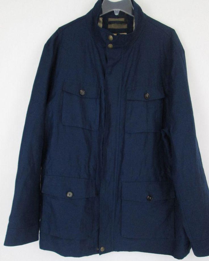 Marks Spencer Collezione Linen Jacket Mens XXL European UK Nautical Funnel Neck #MarksandSpencer #FieldJacket