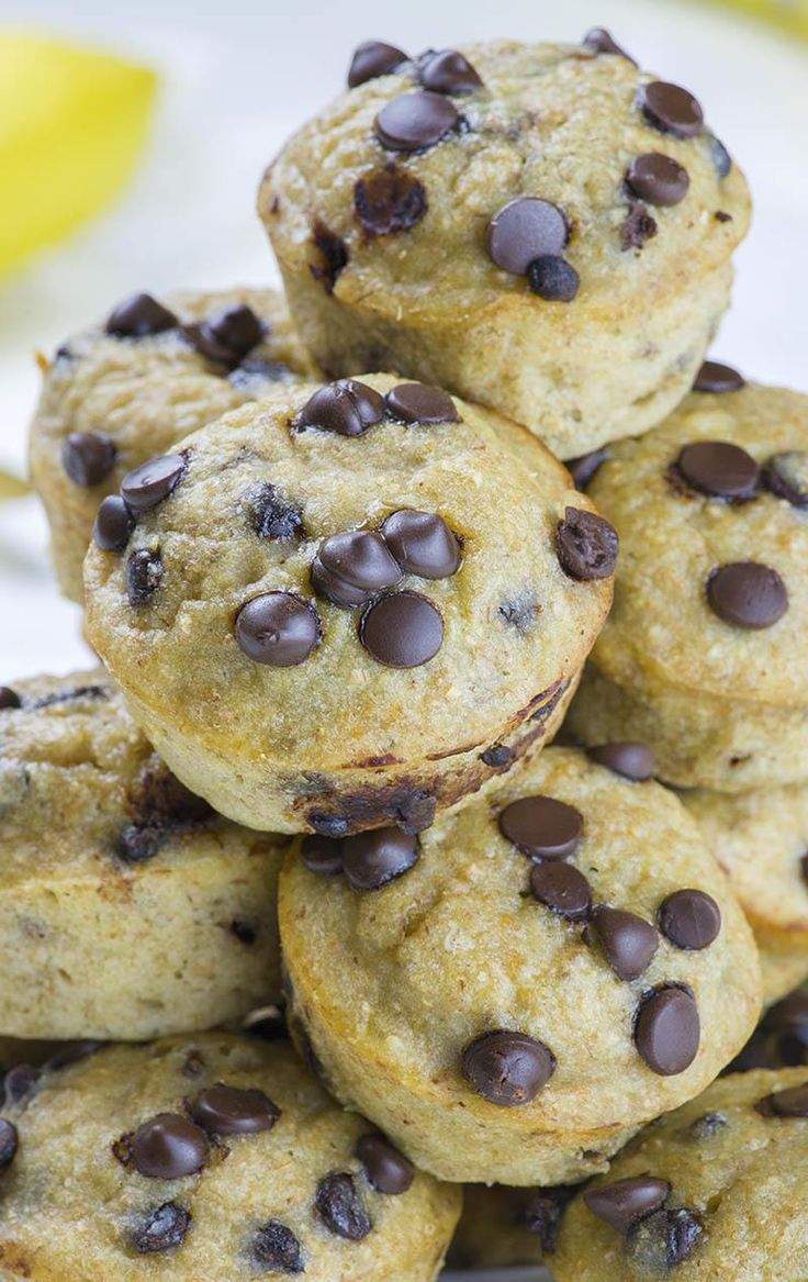 Skinny Chocolate Chip Banana Muffins is EASY and HEALTHY BREAKFAST RECIPE for busy mornings!!! Start your day with these healthy muffins.