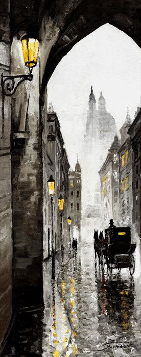 Old Street Print By Yuriy  Shevchuk... This painting reminds me of Sherlock Holmes Stories.