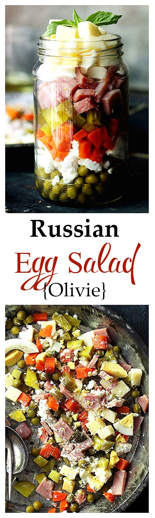 Russian Egg Salad - A delicious salad recipe made with ham, eggs, cheeses, carrots, peas, and pickles. Also known as Olivie Salad. Get the recipe on diethood.com