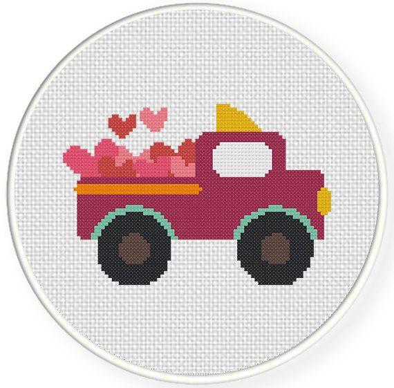 INSTANT+DOWNLOAD+Stitch+Valentine+Truck++PDF+by+DailyCrossStitch,+$2.99