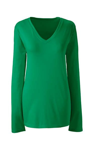 82e787af7364 Women's Supima Cotton Long Sleeve T-shirt - Relaxed V-neck | Age 50 ...