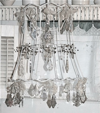 Lamp shade frame with found chandelier crystals!