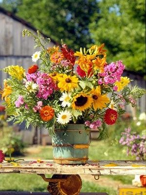 flowers in old painted blue handled wooden bucket...love..