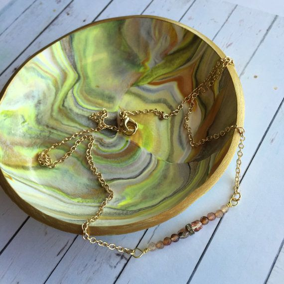 Gold and Yellow Marble Swirl Polymer Clay Ring Dish by MonicaRudyJewelry