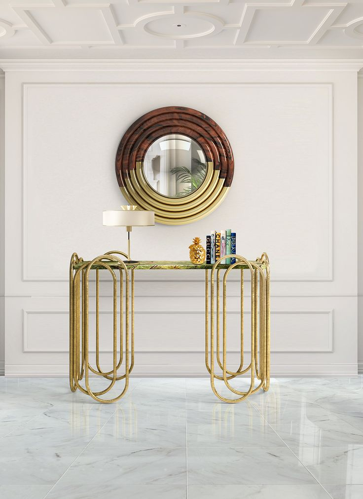 Opal Console - Opal Console expands the limits of design with a elegant composition finish in golden leaf. #opal #console #linecraft #muranti #luxury #furniture #interiordesign #trends #homedecor #style #modern #furnituredesign  Find more at: www.muranti.com