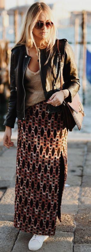 Nina Suess Printed Maxi Skirt Fall Street Style Inspo #Fashionistas
