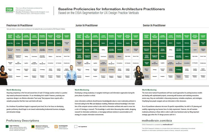 Baseline Proficiencies for Information Architecture Practitioners.     http://www.methodbrain.com/posters/dsia-baseline-proficiencies-for-ia-practitioners.pdf