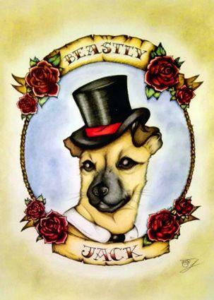 Beastly Jack:  dog portrait realizzato su foglio A4.