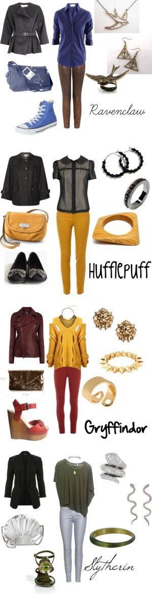 """The Four Houses of Hogwarts"" by winterlake25 on Polyvore 