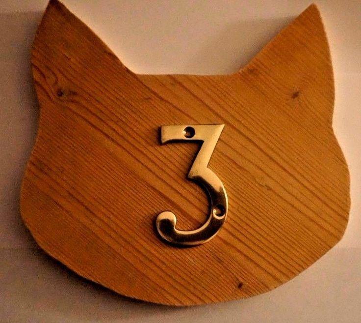NUMBER 3 RETRO SHABBY CHIC WOOD CAT SHAPE BESPOKE PLAQUE RARE UNIQUE EXCLUSIVE