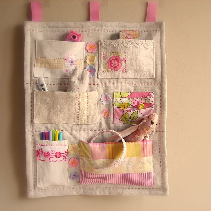 Roxy Creations: Wall organiser linen pink and yellow