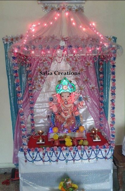 Decoration ideas for indian festival ganesh pooja for Artificial flower decoration for ganpati