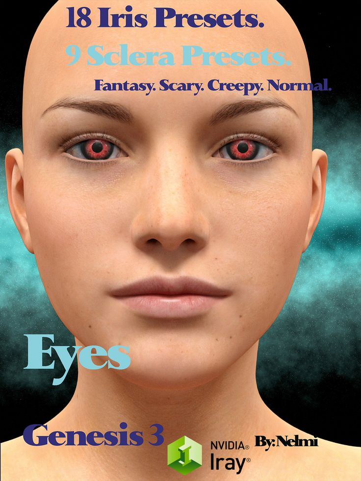 A set of 18 Iris and 9 Sclera material presets for Genesis 3 and Genesis 2. This set will liven up your Genesis 3 character.  Included are presets for fantasy eyes, scary eyes, normal eyes and creepy eyes.   You will need Genesis 2 or 3 to load these presets. They do not work with Genesis 1 and have not been tested in Poser.  27 Duf files to apply iris and sclera materials. 18 High Quality Iris Texture Maps 2048 x 2048. 18 High Quality Bump maps 2048 x 2048. 9 High Quality Sclera Maps 10