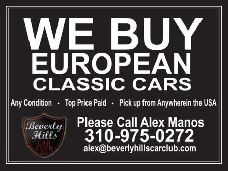 We're looking for Aston Martin models DB2, DB4, DB5, DB6, or any other model in any condition. Do you think you have something for us? Please call Alex Manos at 310-975-0272 or visit http://www.beverlyhillscarclub.com//wanted.htm
