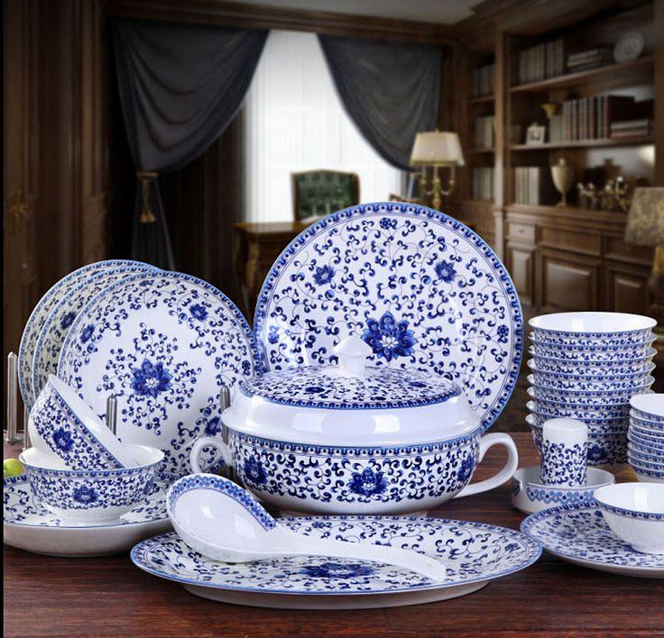 Chinese Style Blue and White Porcelain Dining Set (56 Pcs)