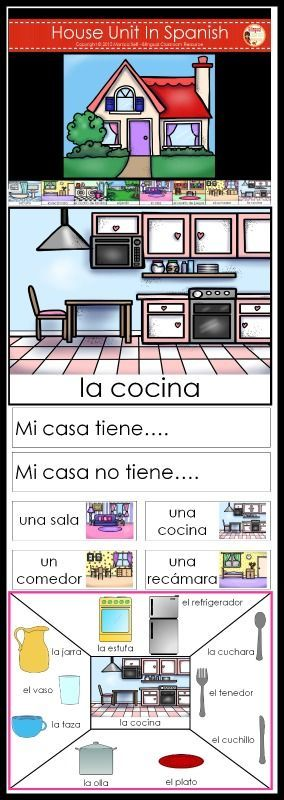 The House/ La Casa theme Unit is a great way to learn house room names and household items in Spanish!   The 173 page download is full of learning!The following is what is included by page number.   8-9: House Rooms Graphing: The children will roll the die (included) and record the results on the graph. This game is different every time you play!    10-21: These are large cards with house rooms names.   la casa  la cocina  el jardín  el baño