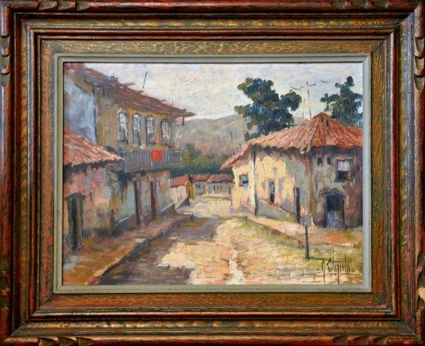 """ASSINATURA ILEGÍVEL, O.S.T. """" Casário Santana do Parnaíba"""", medidas 30 x 40 cm. SP 1986. A.C"""