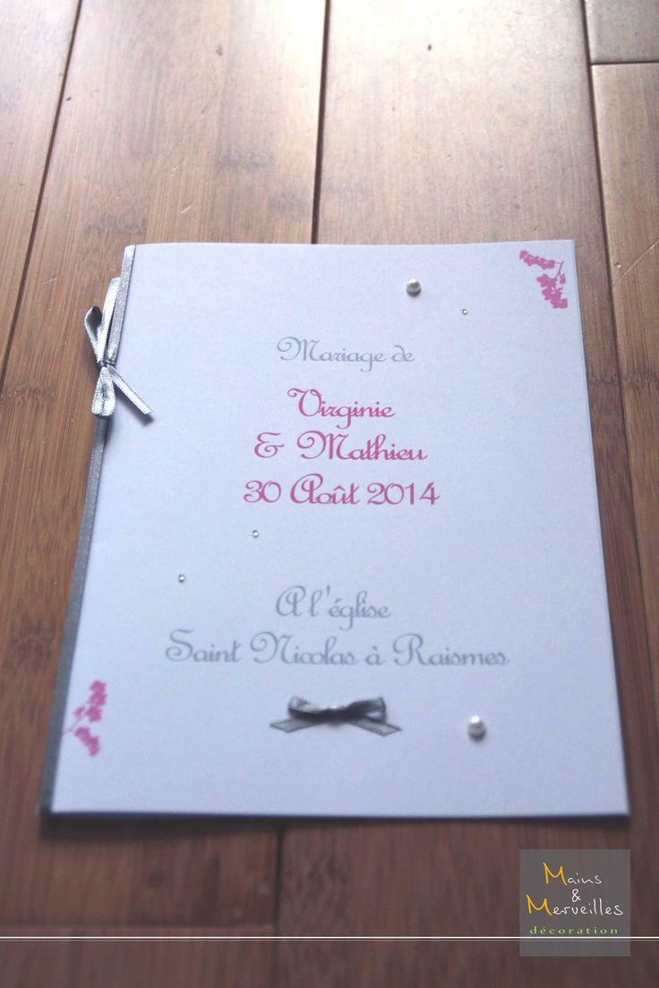 livret de messe personnalis en blanc gris fushia avec ruban satin impression orchides - Exemple Livret De Messe Mariage