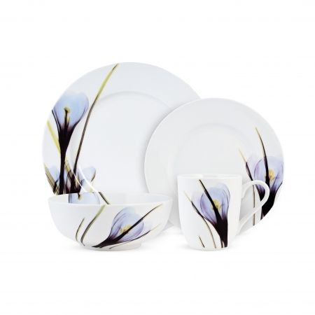 A+floral+design+in+shades+of+purple+and+violet+bloom+in+from+the+edges+on+this+everyday+Crocus+Dinnerware+Set.+This+4+Piece+Dinnerware+Set+includes:+dinner+plate,+salad+plate,+bowl+&+mug.+Crocus+product+is+manufactured+by+Fitz+&+Floyd.+Product+is+not+branded+Fitz+&+Floyd.