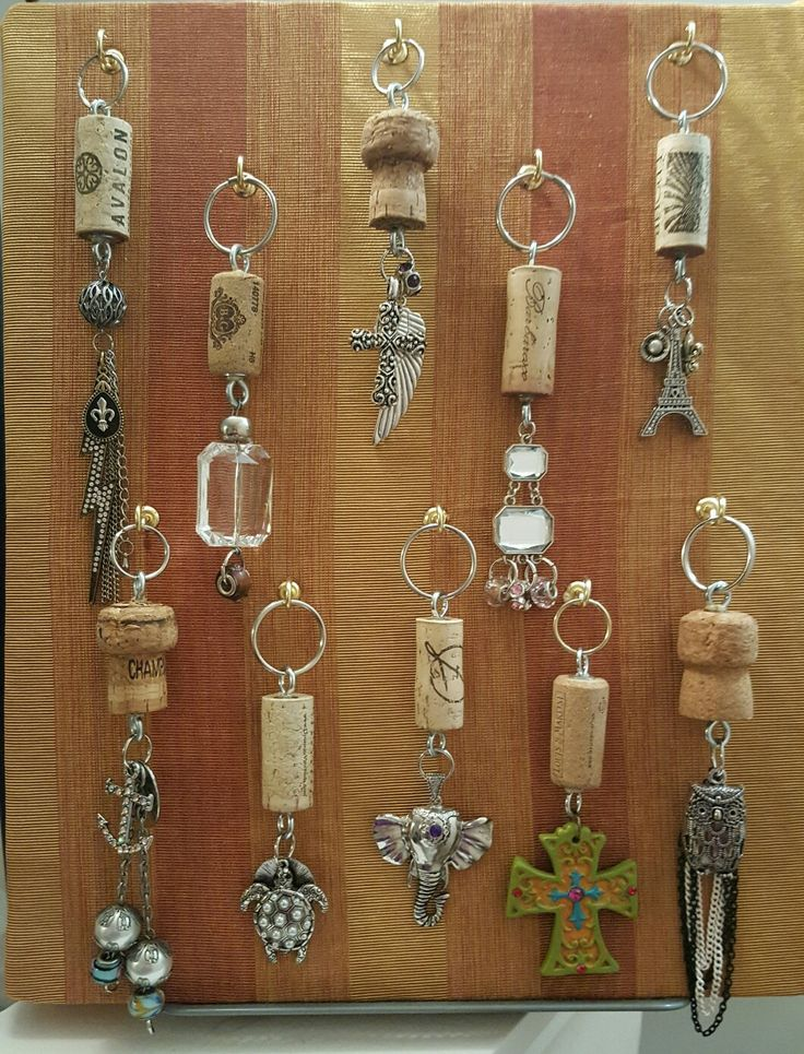 Wine cork keychains