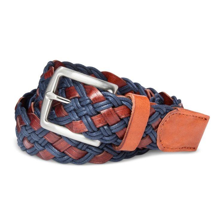 Men's Cord Braid Leather Belt Cog/Navy M - Merona, Blue