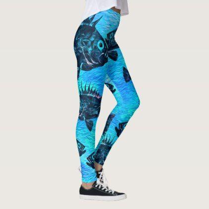 Stylized Quillback On Blue - Leggings - blue gifts style giftidea diy cyo