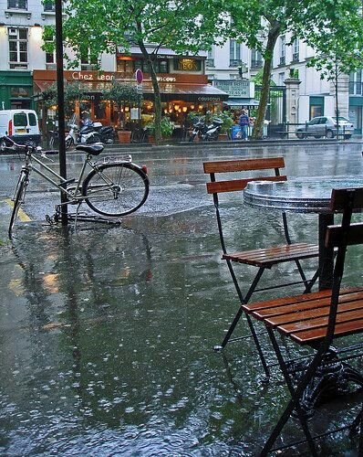 rainy day...  It's got rain and a bicycle in the picture...my favorites!
