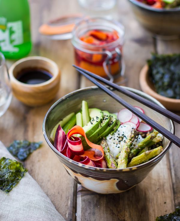 : Miso-Roasted Asparagus and Pickled Carrot Sushi BowlsMiso Roasted ...