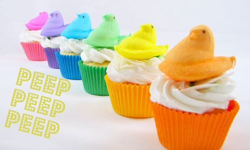 Easter: Cakes Mixed, Idea, Rainbows Colors, Peeps Cupcakes, Rainbows Peeps, Rainbows Cupcakes, Easter Cupcakes, Easter Treats, Cupcakes Rosa-Choqu