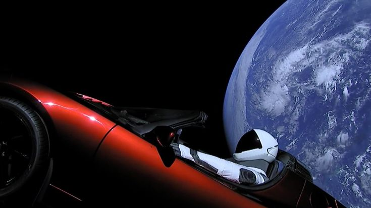 Starman in the Tesla Roadster. Cargo of Falcon Heavy first launch.